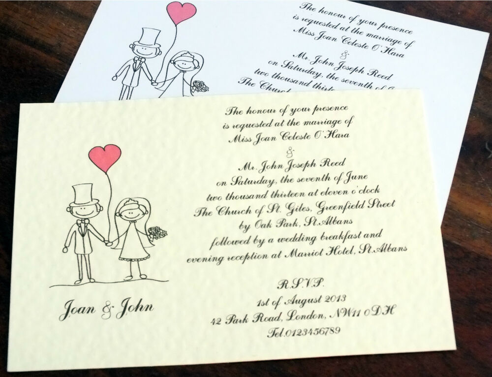 Custom Made Wedding Invitations: 50 Personalised Handmade Wedding Invitations Day Evening