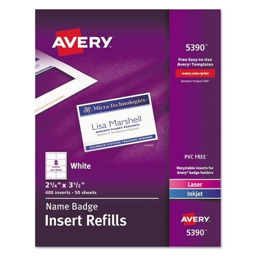 Avery name badge insert sheet refill only 5390 ebay for Avery id badge template
