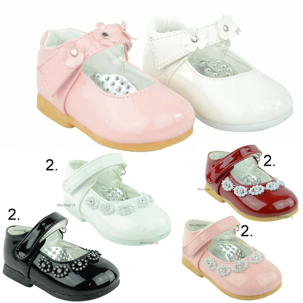 NEW BABY GIRLS WHITE PINK PATENT VELCRO PRAM SHOES WEDDING