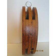 LARGE, DECORATIVE, SHIP'S WOOD RIGGING PULLEY