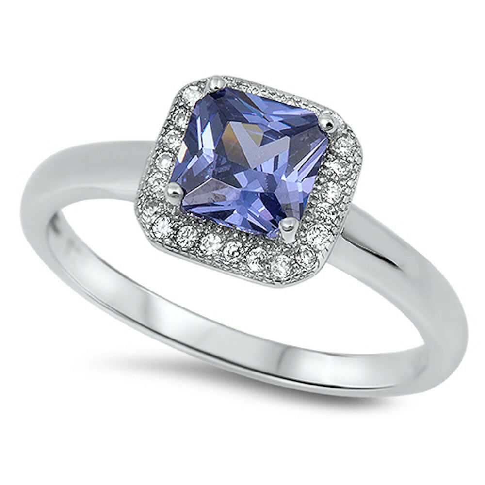 PRINCESS CUT TANZANITE Engagement Ring .925 Sterling ...