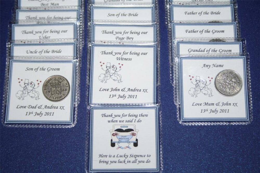 Personalised Wedding Gifts For Guests: Personalised LUCKY SIXPENCE KEEPSAKE WEDDING Thank You