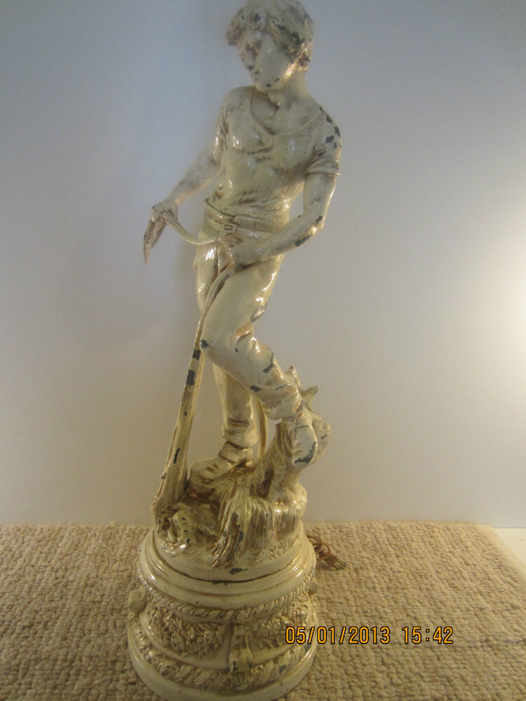 Antique Fisherman S Sculpture Pot Metal Lamp Ebay