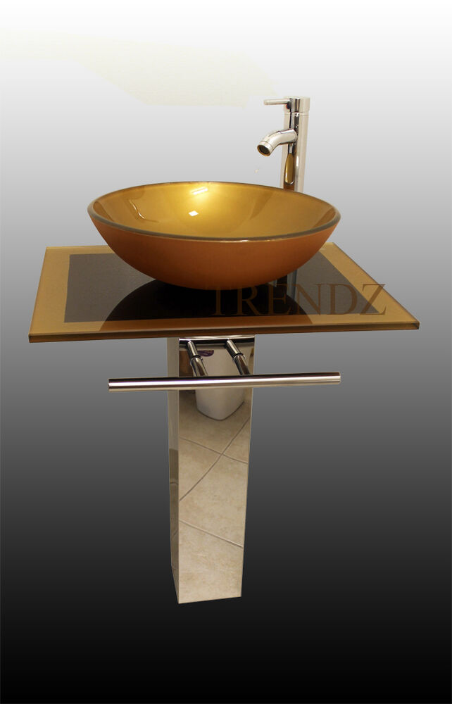 Bathroom Pedestal Mustard Gold Inch Glass Vessel Vanity Combo Set Ebay