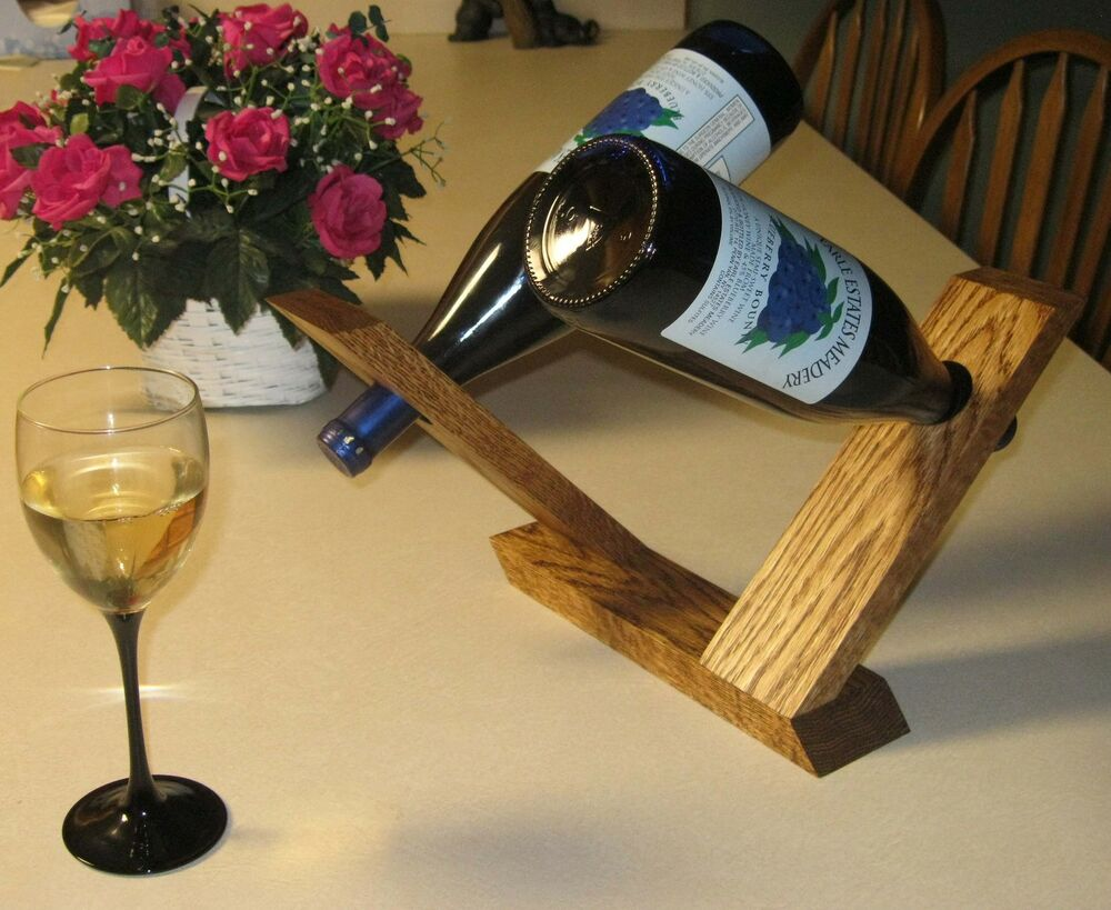 Wood wooden double wine bottle holder centerpiece solid oak ebay - Wine bottle balancer plans ...