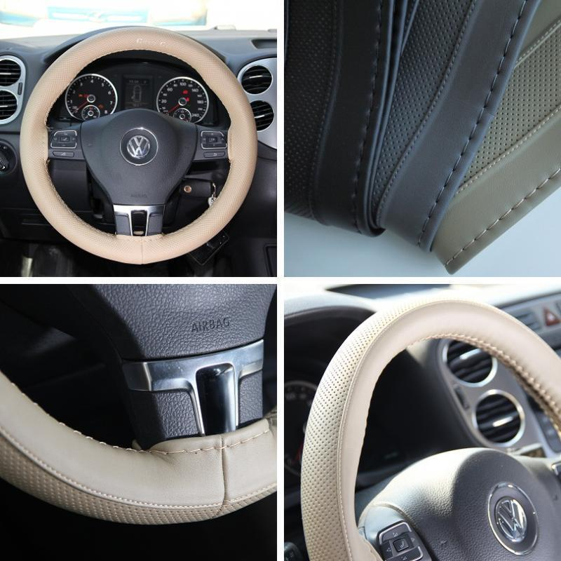 beige pvc leather steering wheel wrap cover w needle thread diy fiat ram truck ebay. Black Bedroom Furniture Sets. Home Design Ideas