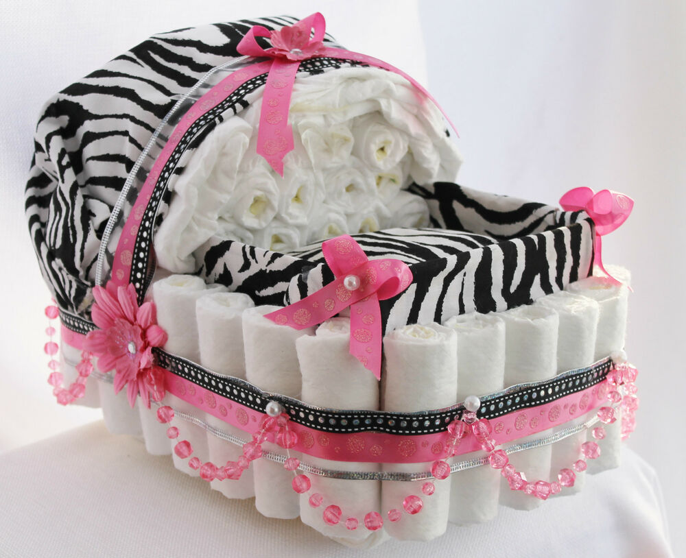 Stunning Pink And Zebra Pearl Diaper Cake Baby Carriage