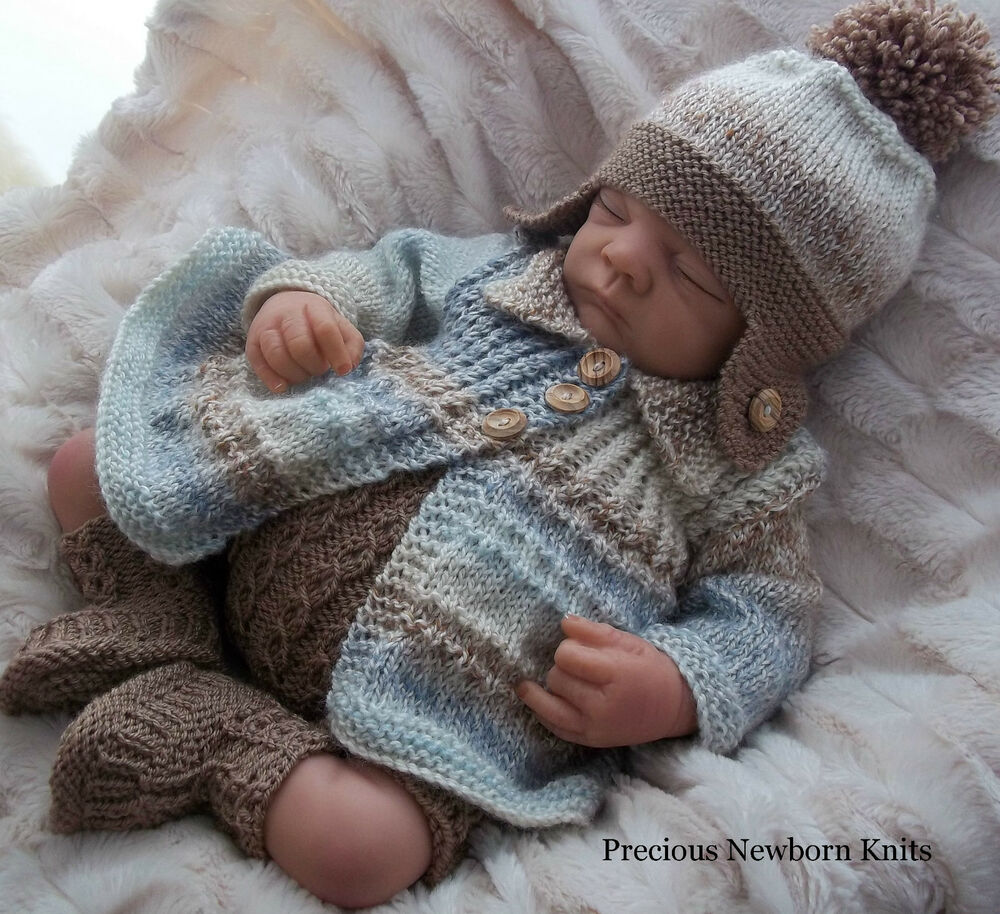 Newborn Knitting Patterns : DK Baby Knitting Pattern 38 TO KNIT Baby Boys or Reborn Doll Noah P...