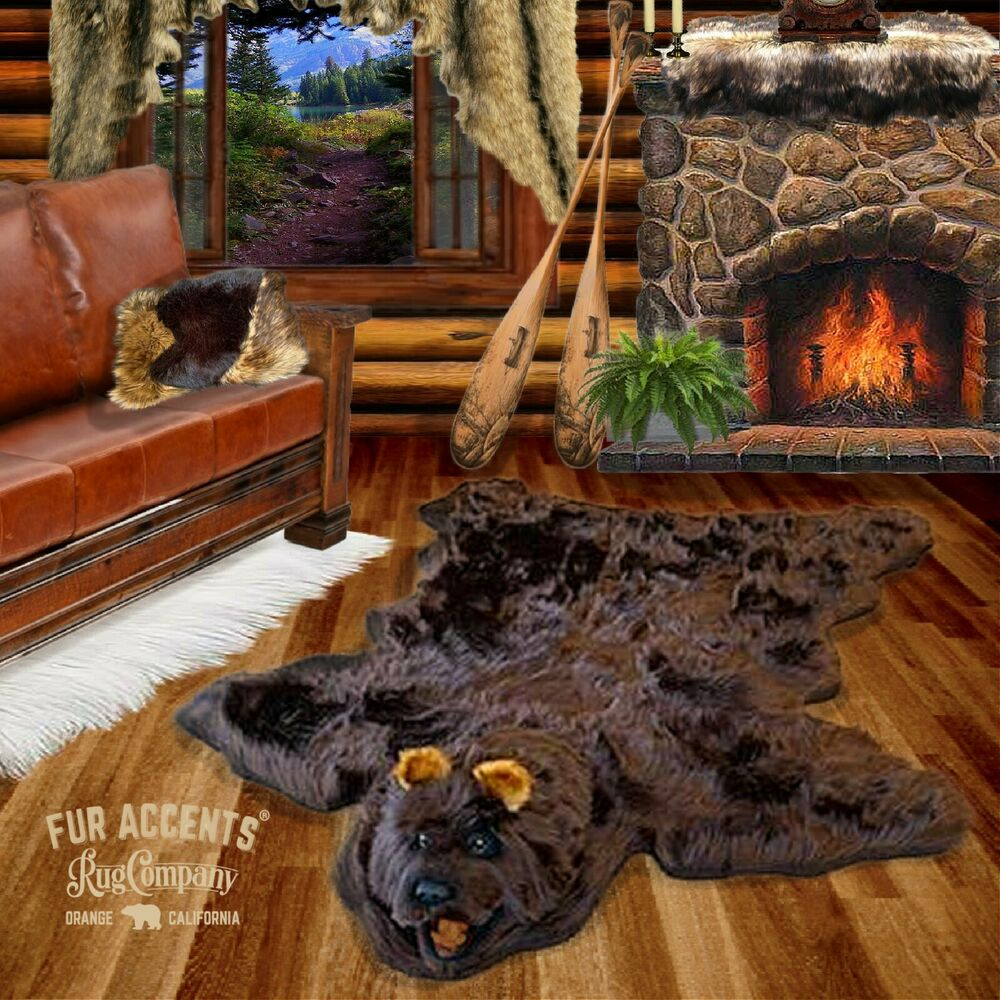 Fur Accents Faux Fur Bear Skin Rug Brown Log Cabin Fake