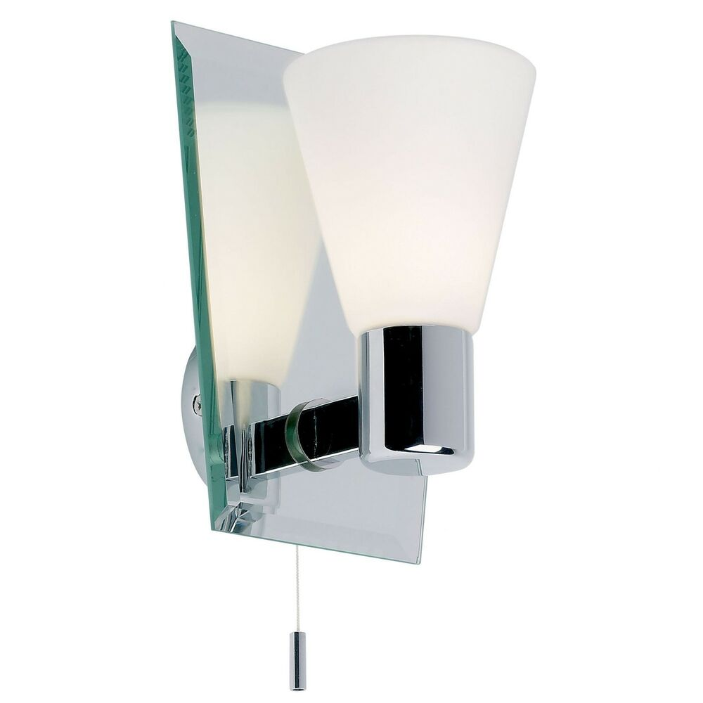 Switched Wall Lights For Bedroom : IP44 Modern Chrome & Mirror Glass Bathroom Wall Light Fitting Pull Switch Zone 1 eBay
