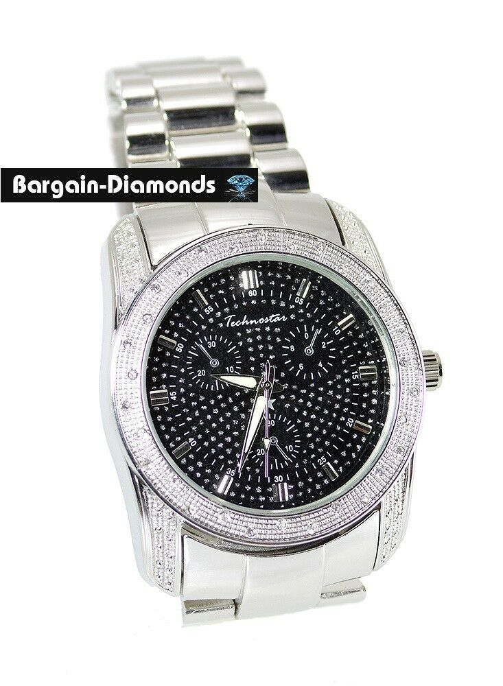 Mens dress sport hip hop ice out steel tone big watch for Rapper watches