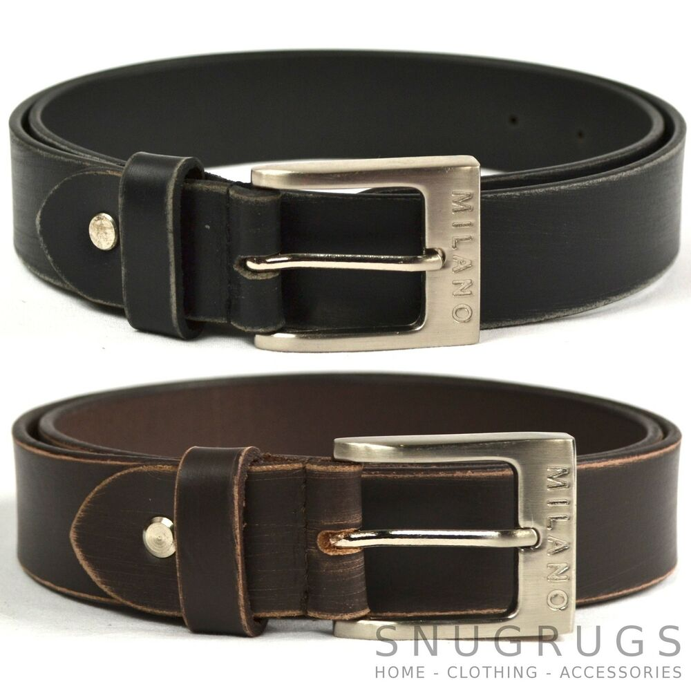 mens thick real leather belt distressed look brown black