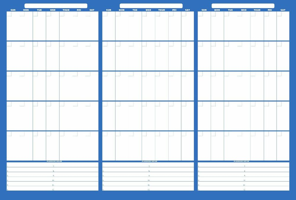 Large Monthly Calendar : Eraseable wall calendar large with marker wipe off