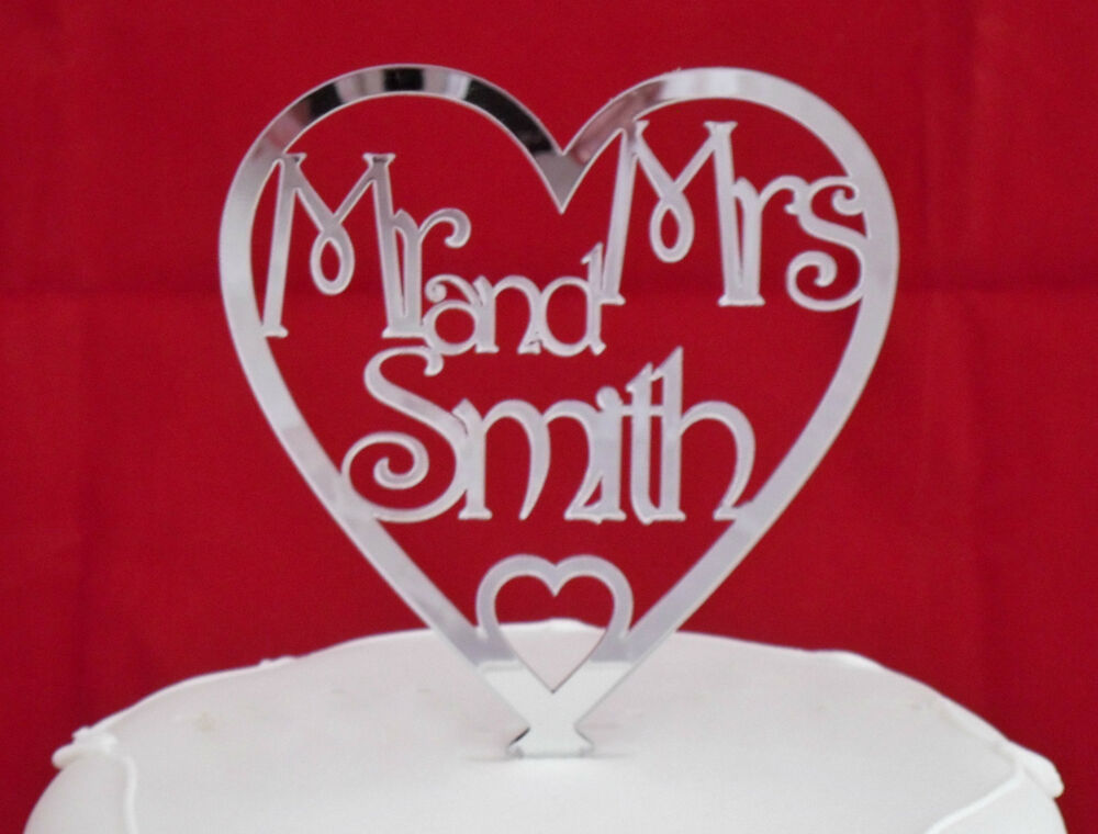 heart wedding cake toppers uk brand new personalised mr amp mrs in mirror acrylic 15185