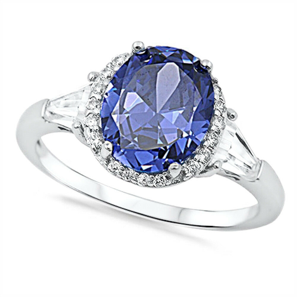 Oval Tanzanite Amp Cz 925 Sterling Silver Ring Sizes 4 11