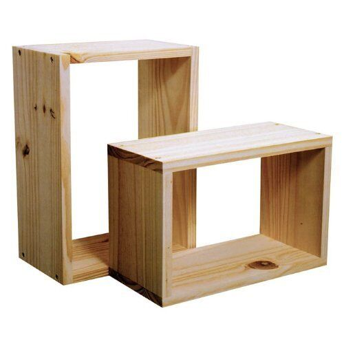 new natural wood wooden wall cube cubes shelf shelves storage unit set of 2 5017839137802 ebay. Black Bedroom Furniture Sets. Home Design Ideas