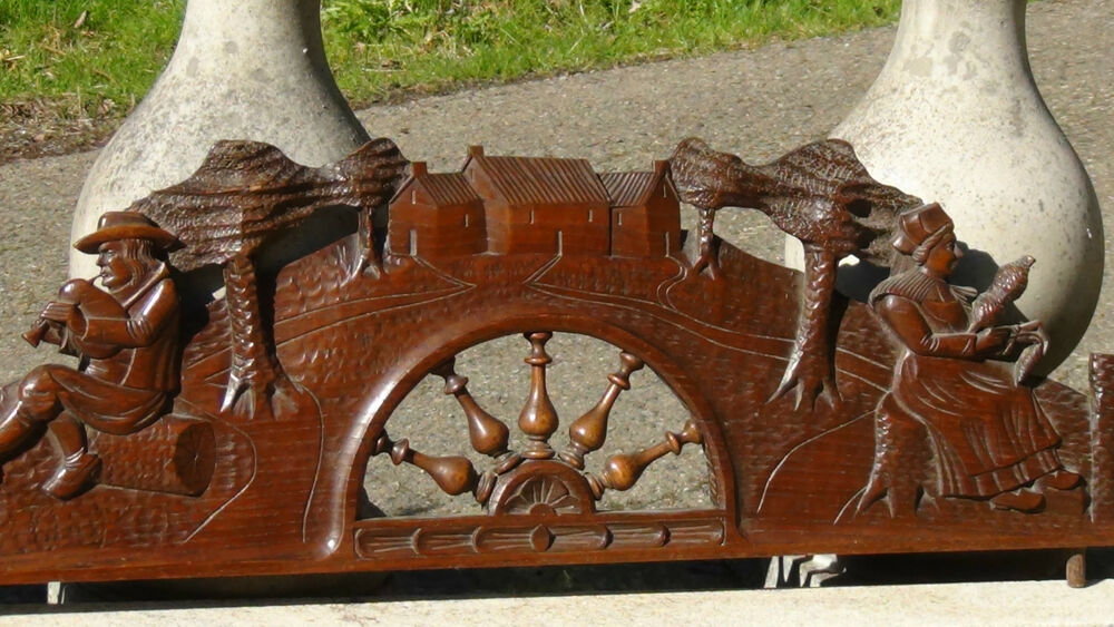 Antique c french oak wood hand carved panel furniture