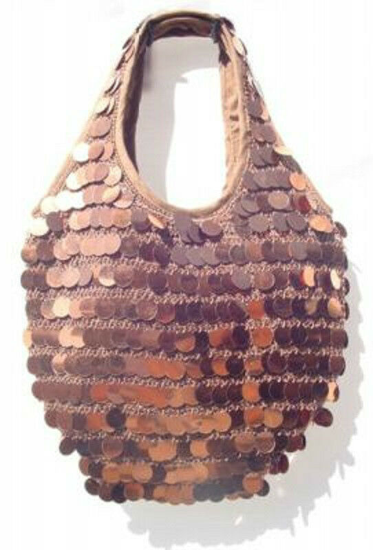 Bronze Copper Crochet Knit Sequin Shoulder Bag Purse Tote ...