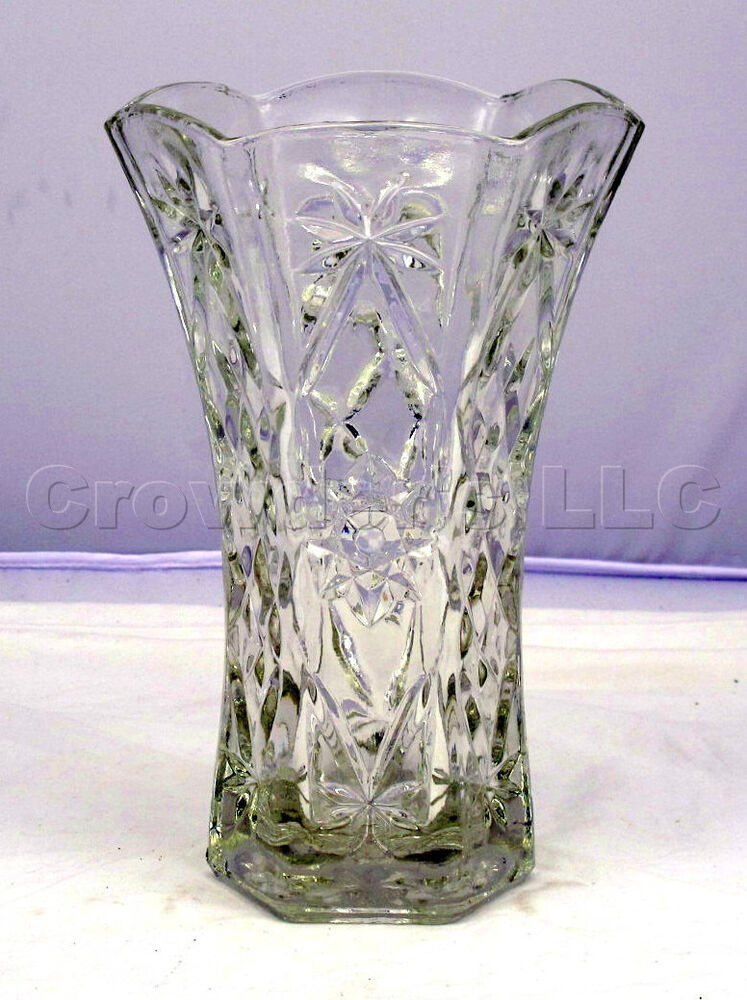 Clear Glass Sun Star Pattern Flower Bouquet Floor Vase 10 Quot Inches Tall Ebay