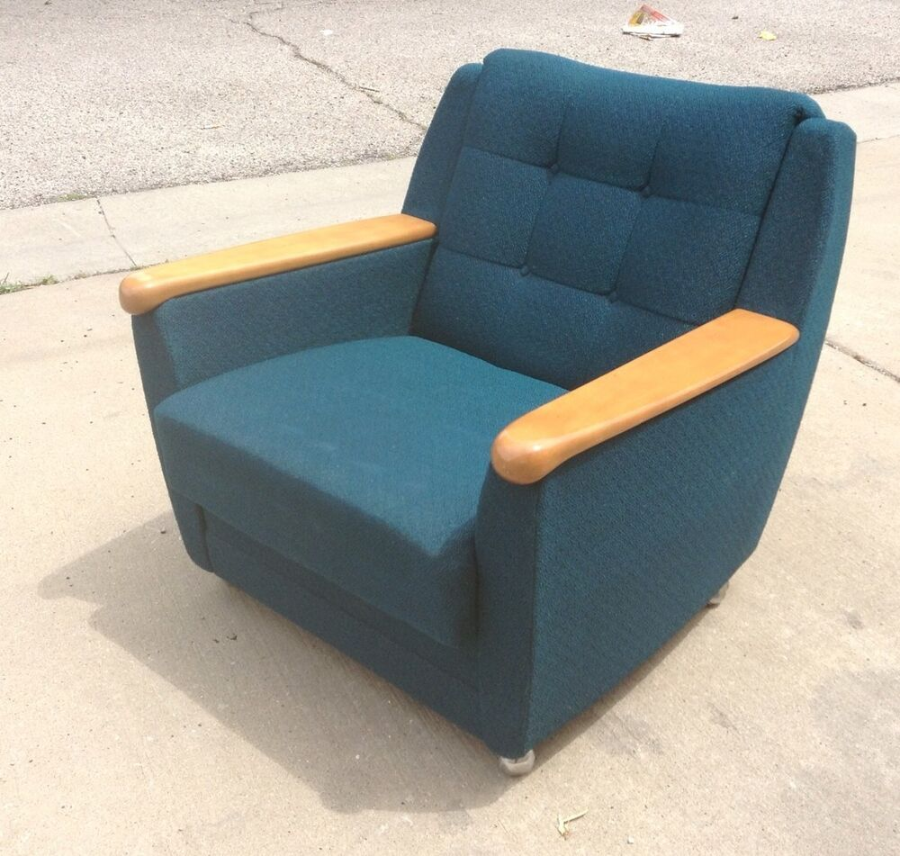 Rollins Modern Arm Chair Blue: Vintage Mid Century Modern Club Lounge Arm Upholstered
