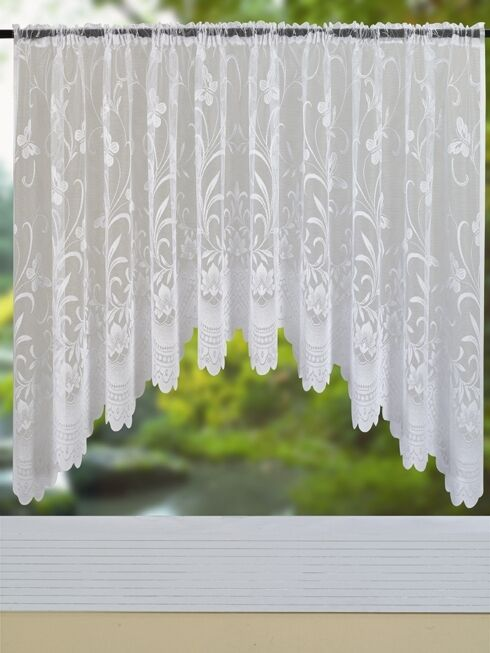 NEW BUTTERFLY DESIGN JARDINIERE / WHITE NET / LACE CURTAIN, FLORAL ...