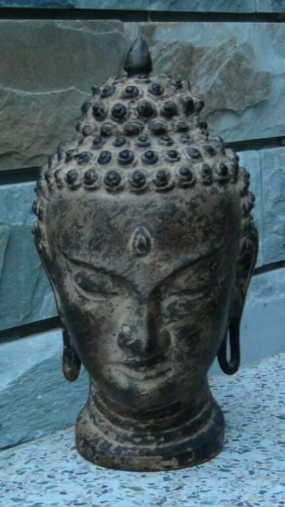 Antique chinese cast iron buddha head estate collection ebay