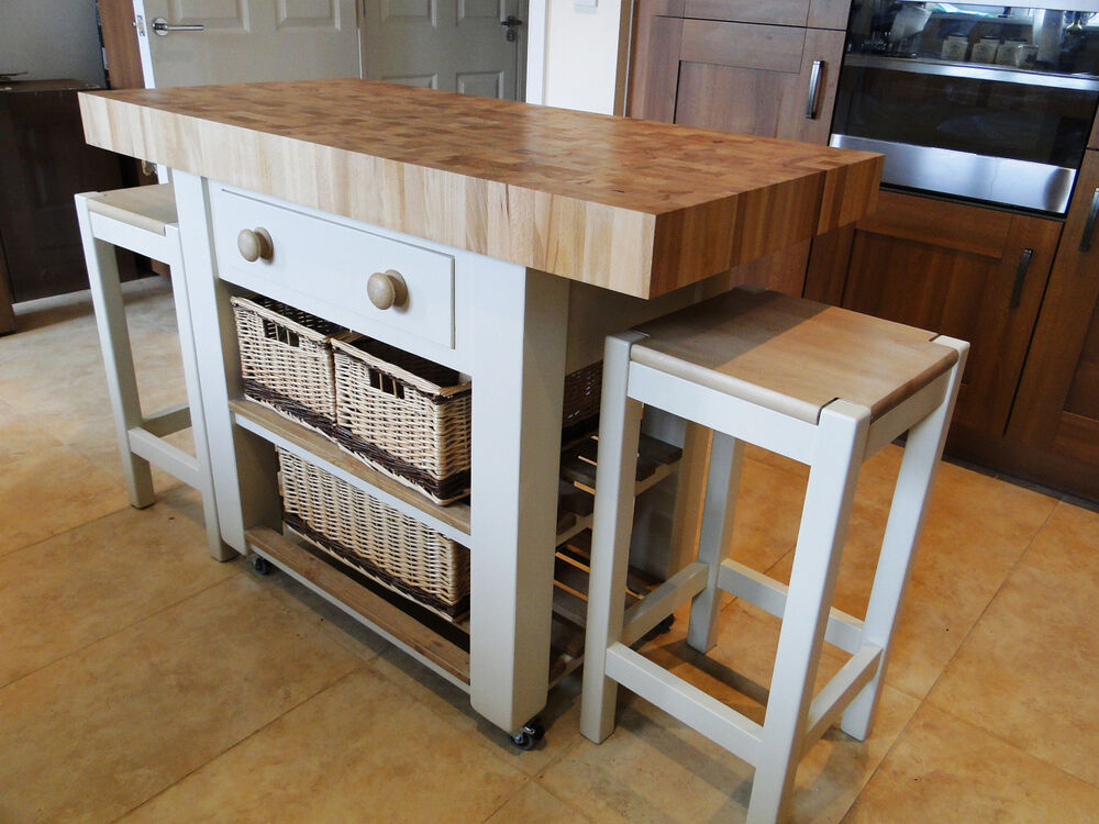 Butchers block kitchen island with double overhang - Kitchen island with stools ...