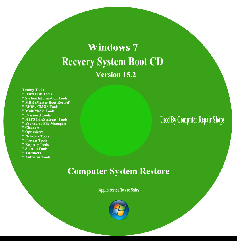 WINDOWS RECOVERY REPAIR System Boot Disc CD Fix XP,Vista,7 ...