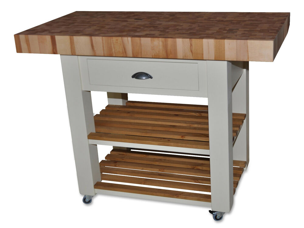 Butchers Block Kitchen Island Trolly With Double