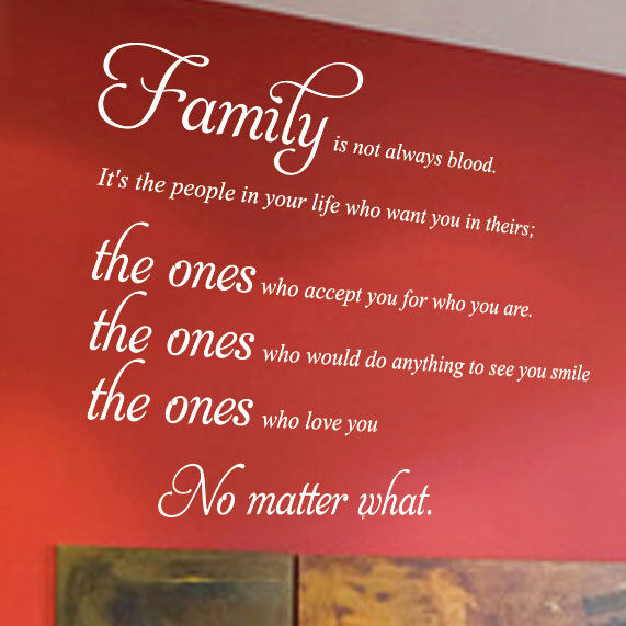 Family Is Not Always Blood Quote Wall Art Sticker Wall