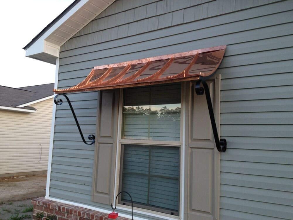 6 ft curved copper window or door awning with decorative for Window awnings