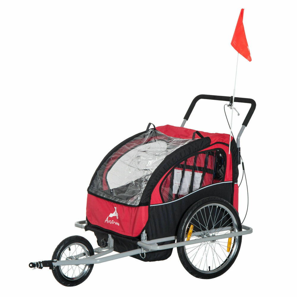 2 In 1 Bike Trailer Double Baby Stroller Jogger Bicycle