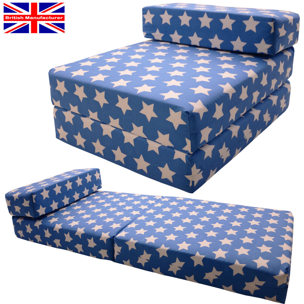 BLUE STARS Fold out Chair Sofa Bed Z Guest Folding Futon Single Chairbed Gild