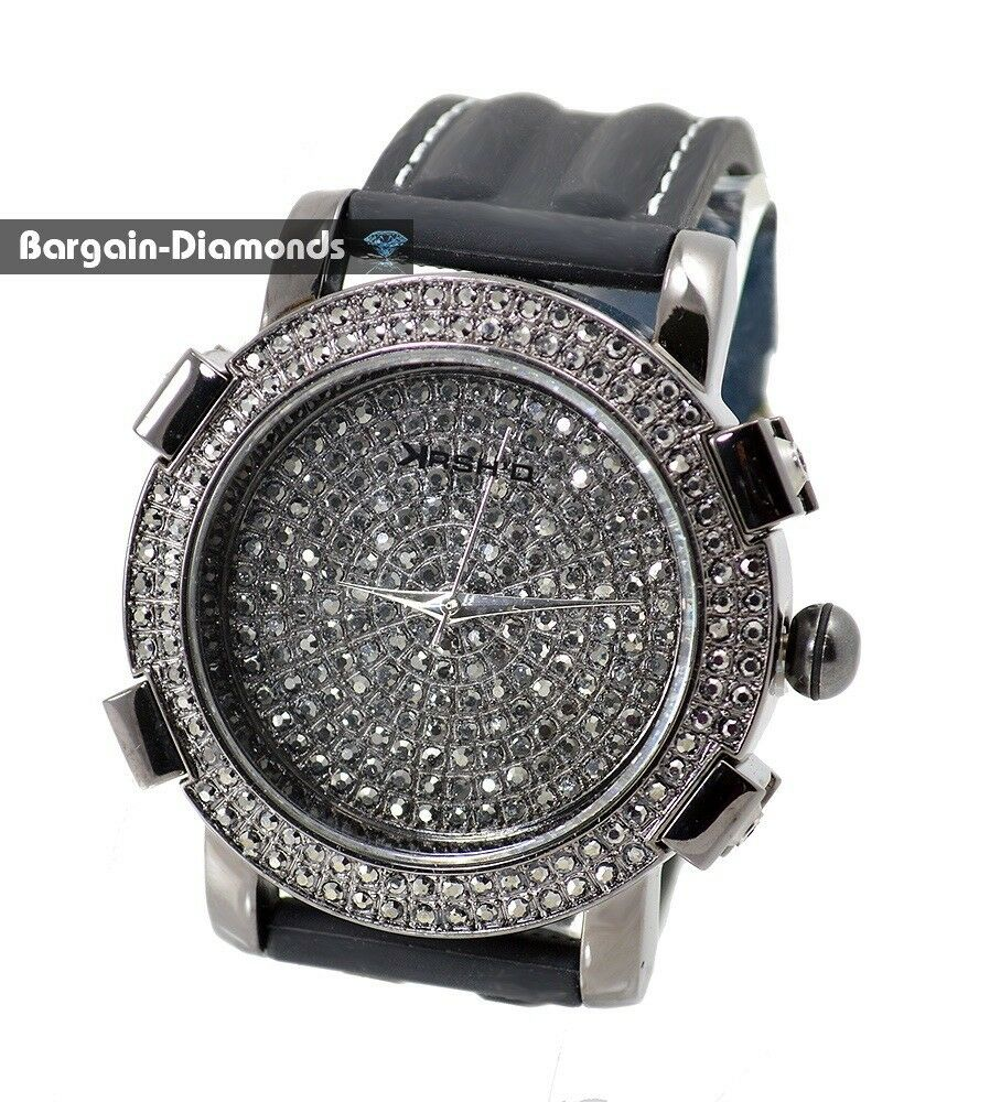 mens gunmetal black cz out cz hip hop bling