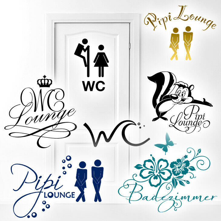 wandtattoo wandsticker wandaufkleber badezimmer wc t r motive zur auswahl 1074w ebay. Black Bedroom Furniture Sets. Home Design Ideas