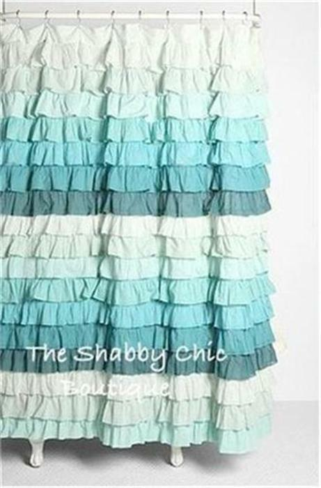Shabby Beach Cottage Chic Dreamy Ruffled Green Teal