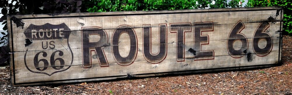 Nostalgic Route 66 Sign Rustic Hand Made Vintage Wooden