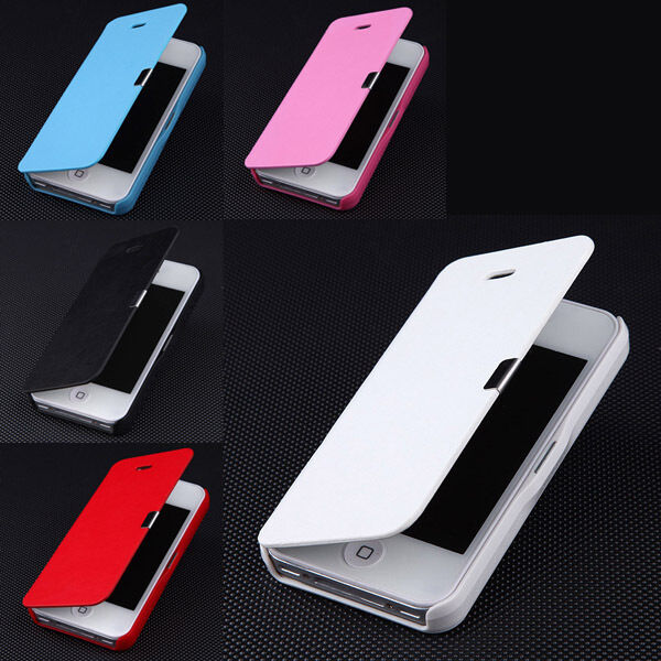 magnetic leather flip hard full case cover pouch skin for apple iphone 4 4s 5 5s ebay. Black Bedroom Furniture Sets. Home Design Ideas