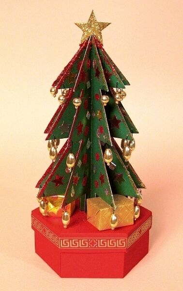 A4 card making templates 3d christmas tree gift box for 3d xmas cards to make