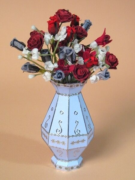 a4 card making templates for 3d flower vase and display