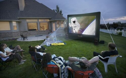 open air cinema home outdoor movie projection projector inflatable