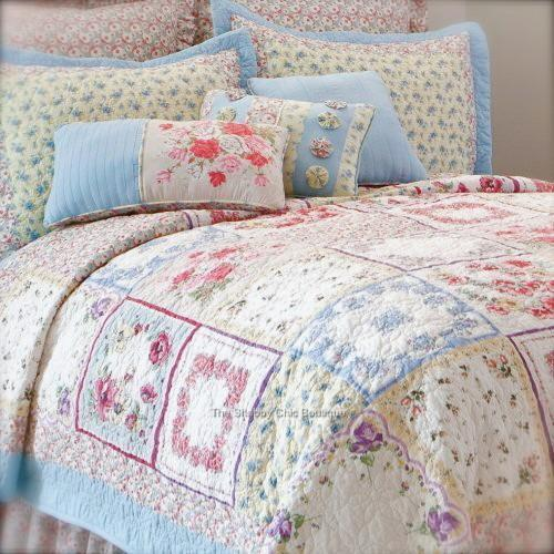 King Quilt & Pillow Covers Shams Bed Valance 4 PC Set Shabby Patchwork Rose Chic eBay