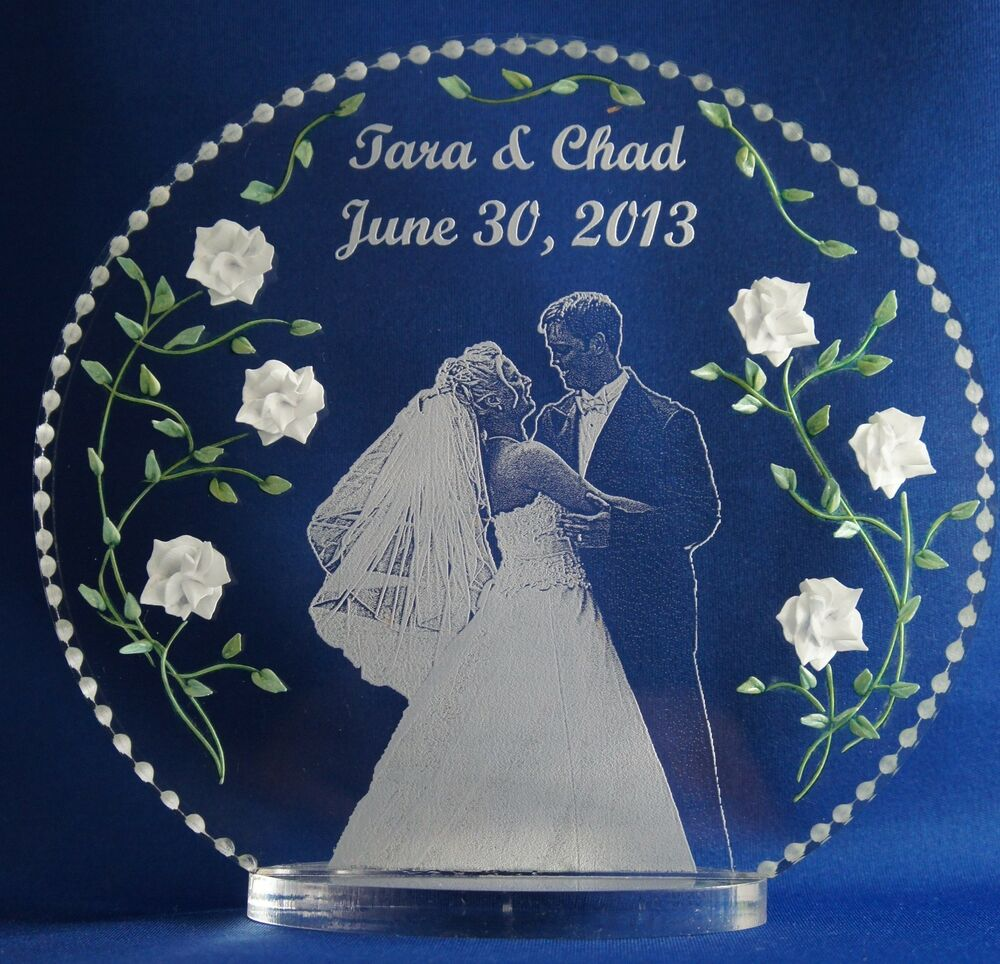 personalized glass wedding cake toppers photo etched wedding cake topper clear glass like acrylic 18263