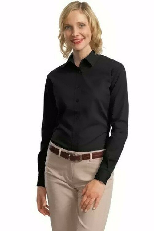 port authority ladies long sleeve value cotton twill