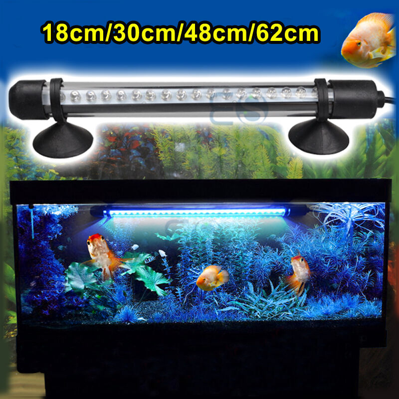Aquarium fish tank waterproof white blue 18 30 48 cm led for Fish tank lighting