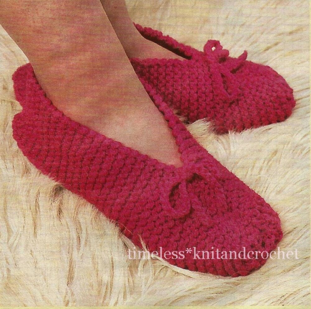 Knitting Pattern Writing : VINTAGE KNITTING PATTERN FOR QUICK & EASY TO KNIT SLIPPERS IN CHUNKY - 10...