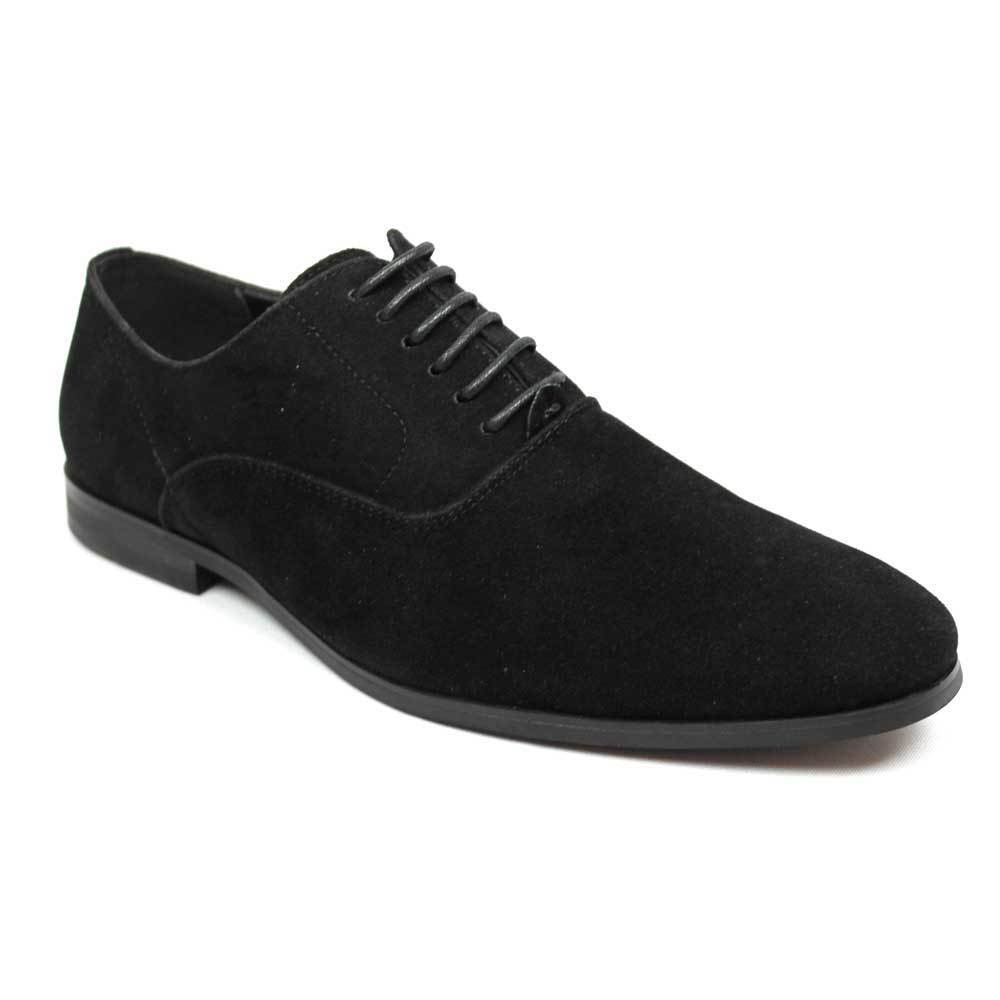 new mens azar suede round toe lace up black oxfords