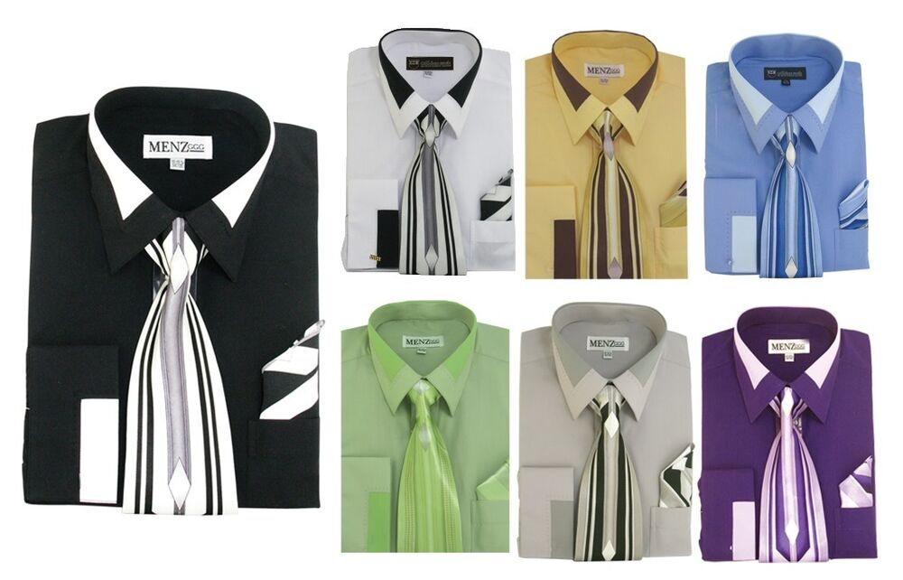 Men 39 S French Cuff Dress Shirt With Tie And Handkerchief