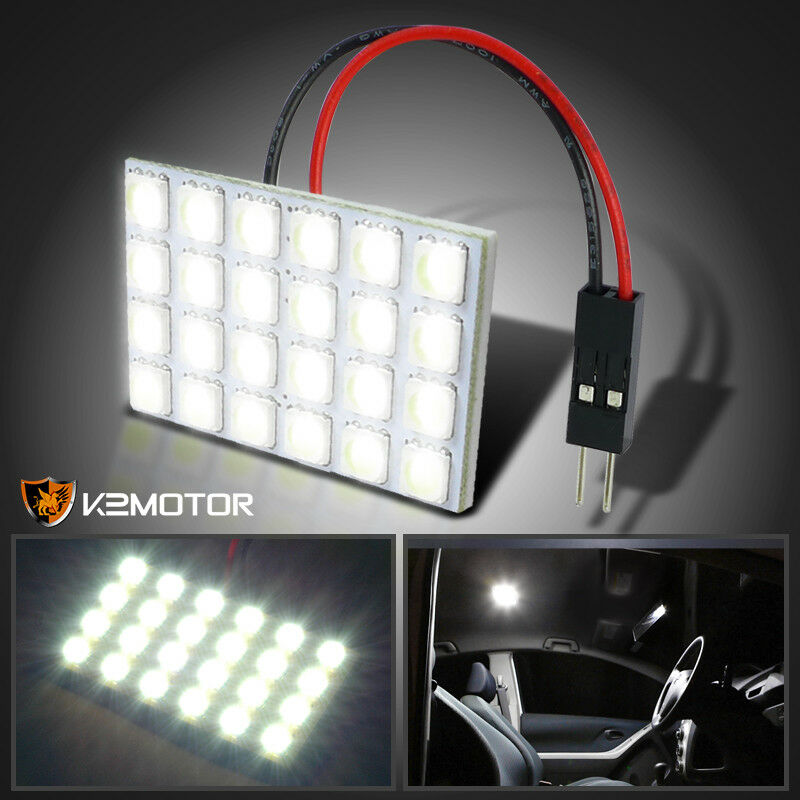 1pc t10 24 smd led power bright white panel dome lamp roof ceiling light 12v map ebay. Black Bedroom Furniture Sets. Home Design Ideas