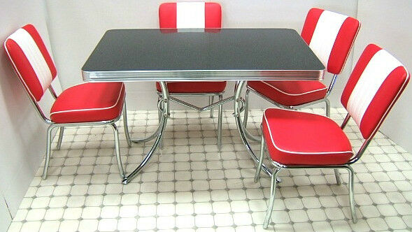 retro 50s diner furniture kitchen formica table 4 chairs restaurant